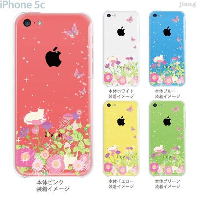 【iPhone5c】【iPhone5cケース】【iPhone5cカバー】【iPhone ケース】【クリア カバー】【スマホケース】【クリアケース】【イラスト】【クリアーアーツ】【Clear Arts】【お花畑とネコ】 22-ip5c-ca0104の画像