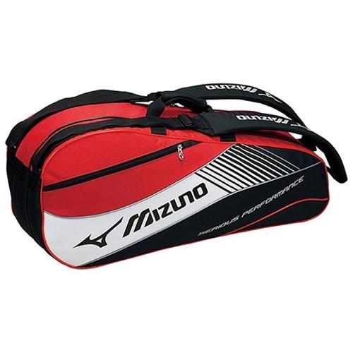 【クリックで詳細表示】◆即納◆ミズノ(MIZUNO) ラケットバッグ 6本入用 Fサイズ 63MD500396 ブラック×レッド 【テニス エナメルバッグ 遠征用バッグ】