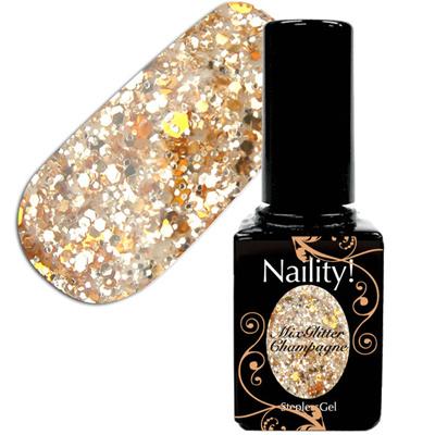 Naility!ステップレスジェル028MIXグリッターシャンパン7g【YWZS/ソークオフ/カラージェル/ポリッシュタイプ/uvled対応/国産/ジェルネイル/ネイル用品】