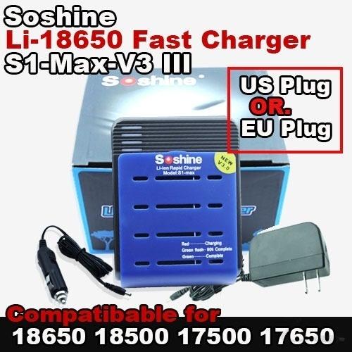 【クリックで詳細表示】[SOSHINE]Free Shipping NEW Soshine SC-S1 Max V3 III Charger for 18650 17500 17650 18500 Li-Ion Batter US plug