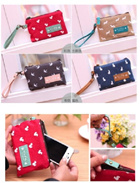 Small slim wristlet clutch bag coin purse cosmetic pouch