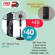 """Aztech 16"""" Stand Fan with Remote (ASF40C)"""