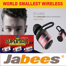 ★2017 WORLD SMALLEST Sports Bluetooth With TWIN BUD★JABEES BTWINS True Wireless Twin Bud Bluetooth ★