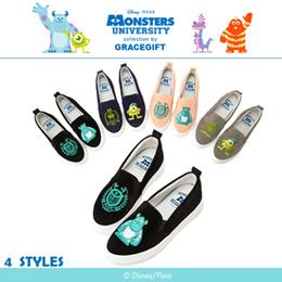 ♥New Arrival♥Gracegift-Disney/PIXAR Monsters University Badge Embroidered Slip Ons/Women Shoes