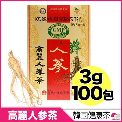 【韓国飲料】高麗人参茶(木箱)100包 ◆ 高麗人蔘 朝鮮人参 人参の画像