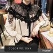 [COLORFUL DNA] ブラックレースプリンティングがラグジュアリーなムード ★ケープスタイルのユニークなデザイン★ パンツ・スカートすべてのボトムスと演出可能! ロマンチックなコーデ♪ リボンレースブラウス