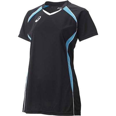 アシックス(asics)W'SゲームシャツHSXW1317ブラック×アクア【バレーボールレディーストレーニングウェア半袖】