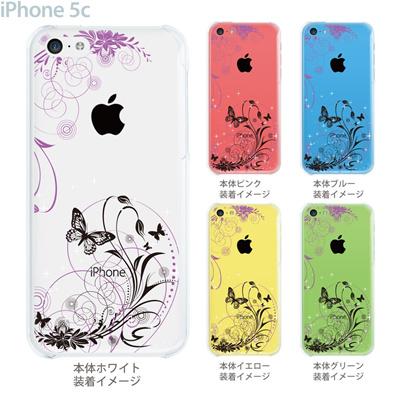 【iPhone5c】【iPhone5cケース】【iPhone5cカバー】【ケース】【カバー】【スマホケース】【クリアケース】【フラワー】【花と蝶】 22-ip5cp-ca0069の画像