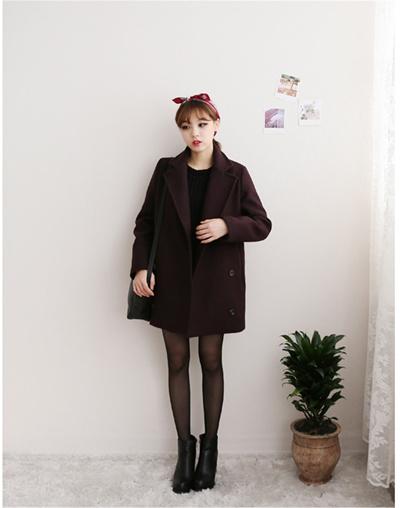 韓国版で款秋冬コート小个子女毛コート学生学院の直筒子コート