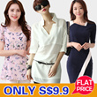 ONLY S$9.9 Flat Price New Arrivals Plus Size Dresses chiffon Tops Shirt Blouse