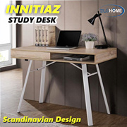 INNITIAZ Scandinavian Design Study Desk /120cm Computer Table/Wood Top Metal Leg Office Table