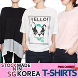 ★[In Singapore!!]Made In KOREA Today Only $4.9 ★★Only One Time Limited Price/Worth $1 Free Gift★/2015 S/S Hot ITEM/Women t-shirts/box T-shirts/stylish/loose fit/top/S~XXXXL