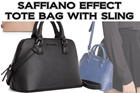 MG SAFFIANO EFFECT TOTE BAG WITH SLING (Blue Black Taupe)