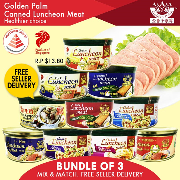 Unique OTAH/MALA Luncheon Meat Flavours and Many More! Bundle of 3x340g Promo! Product of Singapore! Deals for only S$12 instead of S$0
