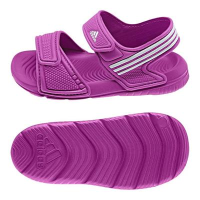 アディダス (adidas) ジュニア アクワ 9 I(フラッシュピンク×ランニングホワイト×ランニングホワイト) B40662 [分類:キッズ・子供靴 コンフォートサンダル]の画像