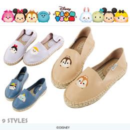 ♥New Arrival♥Gracegift-Disney TsumTsum Leather Embroidered Slip On Espadrilles/Women Shoes