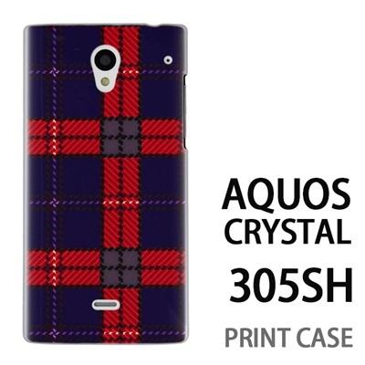 AQUOS CRYSTAL 305SH 用『0908 ラインチェック 青赤』特殊印刷ケース【 aquos crystal 305sh アクオス クリスタル アクオスクリスタル softbank ケース プリント カバー スマホケース スマホカバー 】の画像