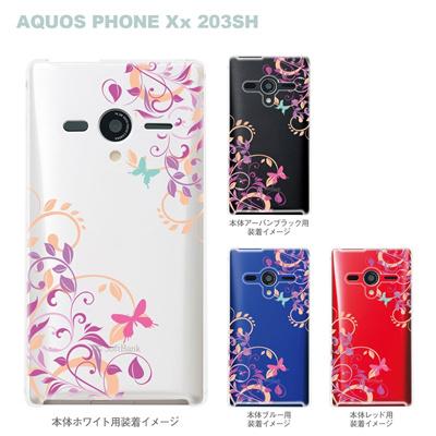 【AQUOS PHONEケース】【203SH】【Soft Bank】【カバー】【スマホケース】【クリアケース】【フラワー】【花と蝶】 22-203sh-ca0080の画像