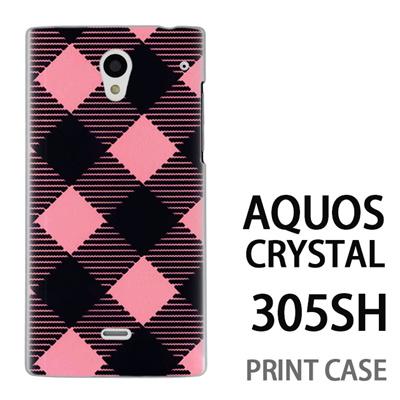 AQUOS CRYSTAL 305SH 用『0908 斜めチェック 黒ピンク』特殊印刷ケース【 aquos crystal 305sh アクオス クリスタル アクオスクリスタル softbank ケース プリント カバー スマホケース スマホカバー 】の画像