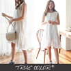 [TRE COLOR]Sleeveless Ruffle-Hem Eyelet-Lace Dress/JJ32(SG)