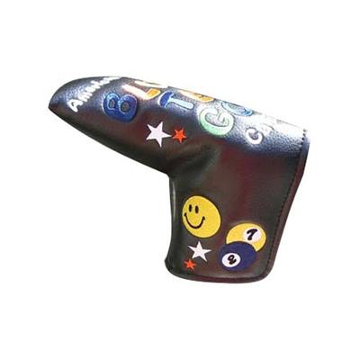ブルー ティー ゴルフ (BLUE TEE GOLF) スマイル&ピンボール ヘッドカバー パター用(ピン型 ハーフマレット型対応)ブラック 【ゴルフ 用品 14】の画像