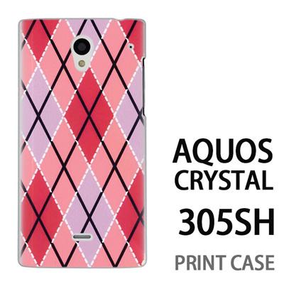 AQUOS CRYSTAL 305SH 用『0908 菱形チェック ピンク』特殊印刷ケース【 aquos crystal 305sh アクオス クリスタル アクオスクリスタル softbank ケース プリント カバー スマホケース スマホカバー 】の画像