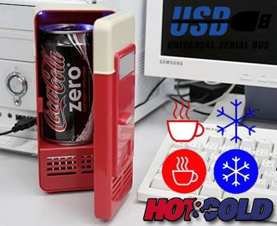 ★【送料無料】保冷(COLD)も保温(HOT)もできます!USBパーソナル保温・保冷庫・冷蔵庫!「つめた~い」「あったか~い」自動販売機がデスクにある喜び!の画像