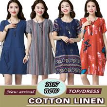 【24/9 BIG PROMO】High Quality Japanese Linen Apparels Cotton Dress Japan Linen / Plus Size Dress