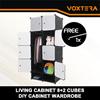 LivingCabinet 8+2 Cubes Dark Veins DIY Cabinet Wardrobe Free 1 hanger (Black/Purple)