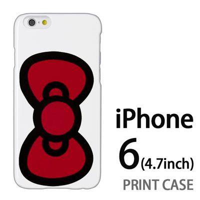 iPhone6 (4.7インチ) 用『0626 赤リボン』特殊印刷ケース【 iphone6 iphone アイフォン アイフォン6 au docomo softbank Apple ケース プリント カバー スマホケース スマホカバー 】の画像
