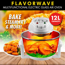 FLAVORWAVE Multifunctional Electric Glass Waves Air Oven/Air Fryer 12L **French Technology!