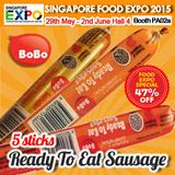 [Singapore Food Expo] BoBo Ready-to-Eat RTE Sausage Series. 5 Stick Promotion! Chicken Sausage / Black Pepper Chicken Sausage / Chicken Corn Sausage