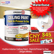 【Zinsser】Ceiling Paint - Paint + Primer in one 1Gallon (Bright White) Stain Blocking Mold Resistant