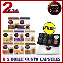 JAN PROMO! [FREE NDG LUXURY KIT WORTH $79] 8 x Nescafe Dolce Gusto Capsule Box (Assorted)