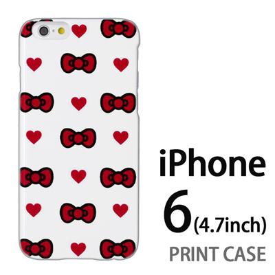 iPhone6 (4.7インチ) 用『0626 赤リボンドット』特殊印刷ケース【 iphone6 iphone アイフォン アイフォン6 au docomo softbank Apple ケース プリント カバー スマホケース スマホカバー 】の画像