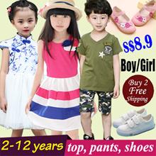 【22 Mar 2017】Korea Girl Princess Dress Kid Clothes/ Skirt Clothing/ Fashion Top Shirts Pants/ Shorts