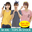 [FREE SHIPPING] 2016 New Arrival Korean Blouse Casual Loose fit T-shirts/Basic Design T-shirts/Casual tops/Clothing/ dress