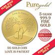 5G Love is Patient Gold Coin Bar/premium gift/souvenirs