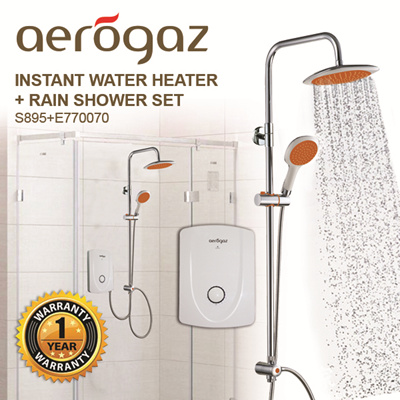 Qoo10   Aerogaz Instant Water Heater(S.895) + Rainshower Set : Home  Electronics