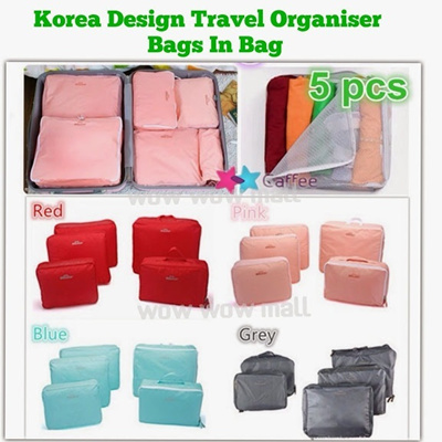 Buy Korea Fashion 5 in 1 Travel Organizer Bags in bag Deals for only RM28.26 instead of RM72.12