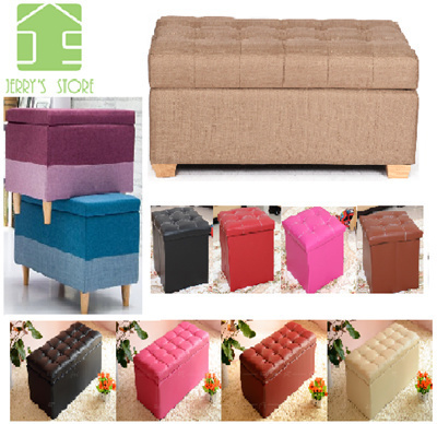 qoo10 storage box ottoman cube stool organizer toy storage storage bench s furniture deco. Black Bedroom Furniture Sets. Home Design Ideas