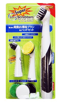 JIC スーパーソニックスクラバー 電動お掃除ブラシ&パッドセット HT-JP