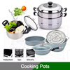 Cooking Pot | 2 Layer Steaming Pot | 3pcs Grey Pot Set | Soup Pot | Steamboat Steam Boil Grill Fry Multi Cooker | Maifan Stone Steamer | Housewarming | Christmas Gift  |  Chinese New Year Steamboat