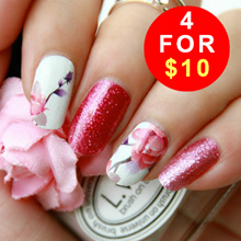 🌺CNY SALE 4 FOR $10🌺 Glitter and Floral Nail Stickers ♥ No Dry Time ♥ Easy Application