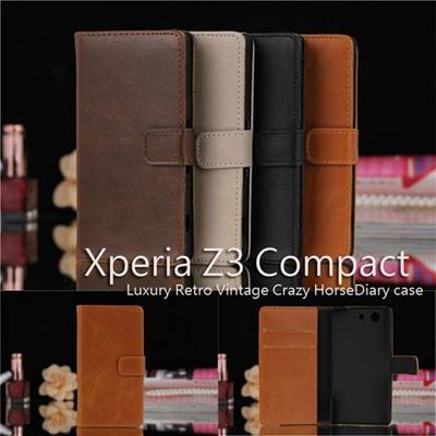 Xperia Z3 compact SO-02G/Xperia docomoCrazy Horse PUレザーケース手帳型 カード収納付きPU Leather Diary Case【レビューを書いてメール便送料無料】の画像