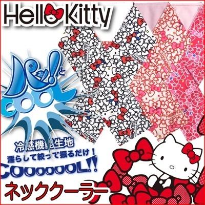 【超特価】ハローキティ クールタオル 冷感タオル素材 暑さ対策アイテム☆ハローキティパットクール ホワイト/レッド/ピンクの画像
