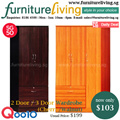 [FURNITURE LIVING SG] 2 Door 3 Door Wardrobe with Drawers + Lock in Cherry or Walnut colour for only $103! Free Delivery + Installation