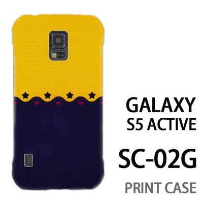 GALAXY S5 Active SC-02G 用『1002 星とハート 黄×紺』特殊印刷ケース【 galaxy s5 active SC-02G sc02g SC02G galaxys5 ギャラクシー ギャラクシーs5 アクティブ docomo ケース プリント カバー スマホケース スマホカバー】の画像
