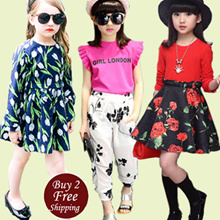 【27 Feb 2017 New】Korea Girl Princess Dress Kid Clothes/ Skirt Clothing/ Fashion Top Shirts Pants