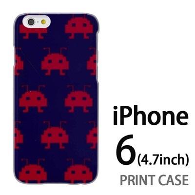 iPhone6 (4.7インチ) 用『0709 インベーダー赤ドット』特殊印刷ケース【 iphone6 iphone アイフォン アイフォン6 au docomo softbank Apple ケース プリント カバー スマホケース スマホカバー 】の画像